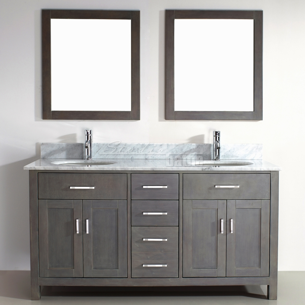 Grey oak 30 floor vanity with 2 doors  RIVIERA