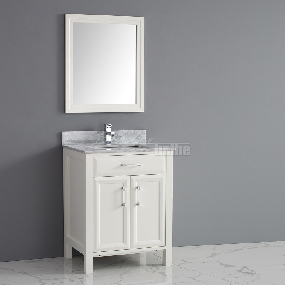 28 Inch Wide Bathroom Vanity Calais 28 White