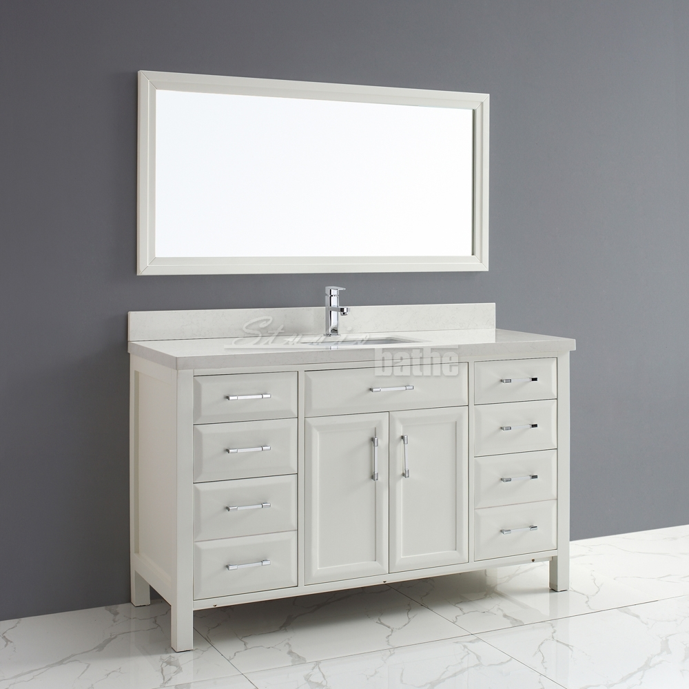 Calais 60 white - 60 inch unfinished bathroom vanity ...